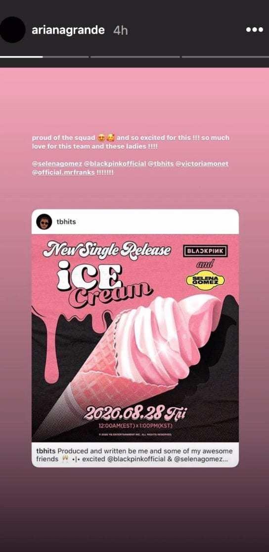 selena gomez ariana grande blackpink icecream